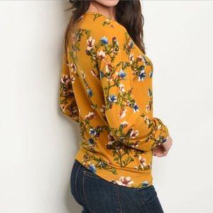 Tops - Mustard Floral Long Sleeve Top